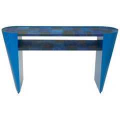 Modern Art Deco Style Console Table in Blue