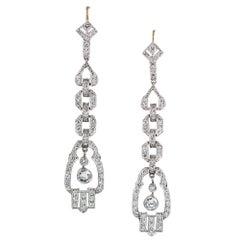 Modern Art Deco Style Diamond Drop Earrings