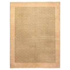 Modern Art Deco Style Green and Beige Wool Rug