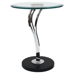 Modern Art Deco Style Side Table with Round Glass Top