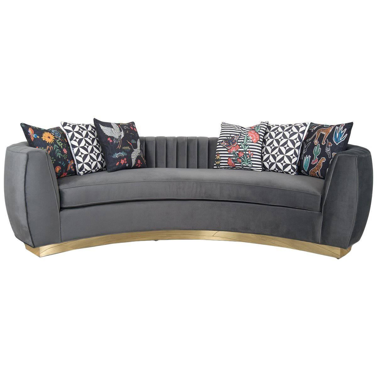 Modern Art Deco Style Sofa And Long Arm Tufting Charcoal Velvet U0026 Gold Toe  Kick