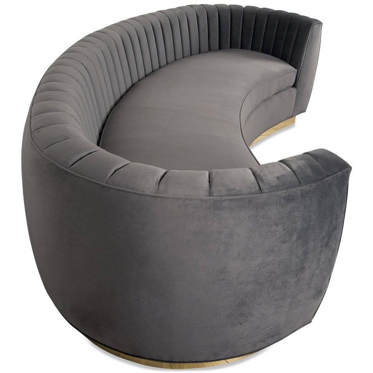 Chinese Modern Art Deco Style Sofa with Long-Arm Tufting Charcoal Velvet & Gold Toe Kick For Sale