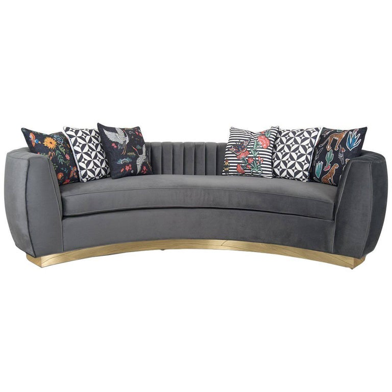 Modern Art Deco Style Sofa with Long-Arm Tufting Charcoal Velvet & Gold Toe Kick For Sale