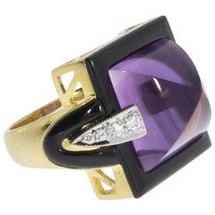 Modern Art Deco Style  Sugarloaf Amethyst Diamond Onyx Cocktail Ring