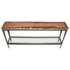 Modern Art Glass Console Table with Cut Ship Steel Frame and Glass Lower Shelf