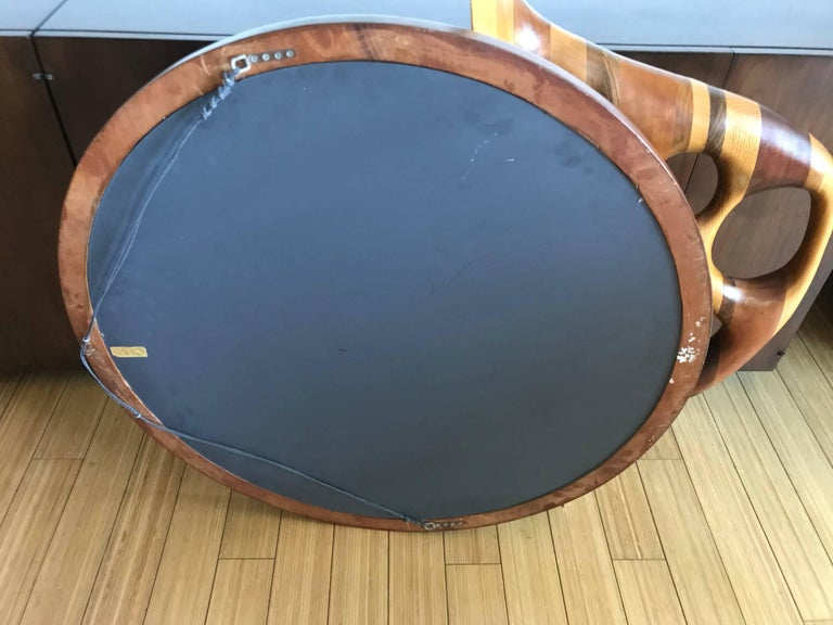 Large Studio Crafted Wood Mirror, 20th Century  In Good Condition For Sale In Los Angeles, CA