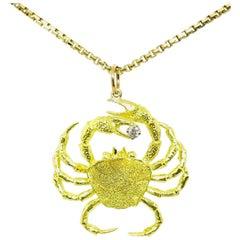 Modern Artisan Crab Cancer Yellow Gold Diamond Pendant Chain Necklace