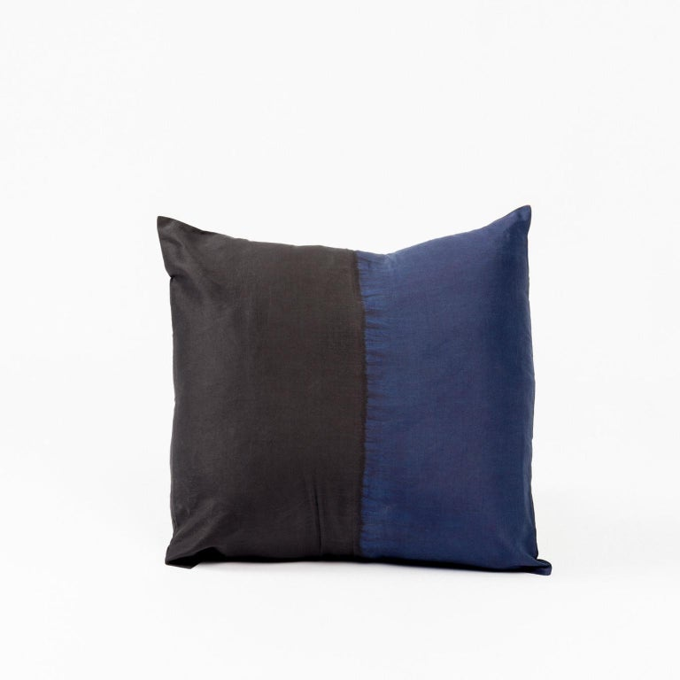Dyed AAKAR MOR Color Block Silk Pillow in Indigo Black  For Sale
