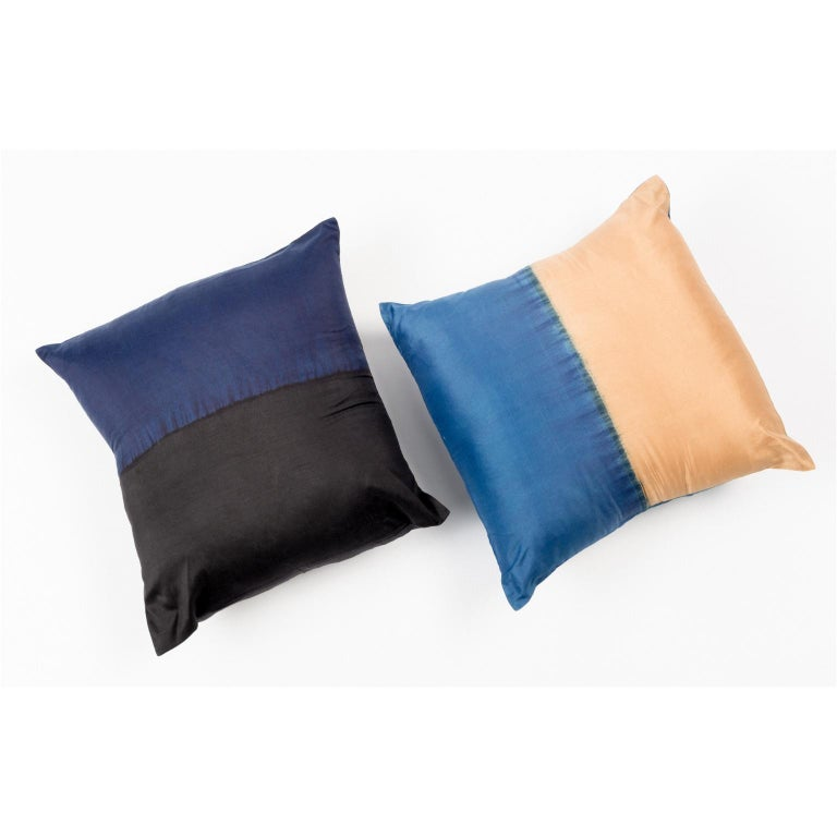 Contemporary AAKAR Color Block Silk Pillow In Indigo Gold  For Sale