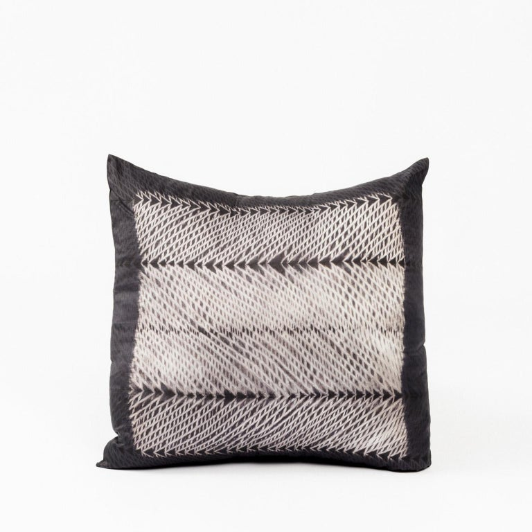 Custom design by Studio Variously,Ara Black Pillow is handmade by master artisans in India. A sustainable design brand based out of Michigan, Studio Variously exclusively collaborates with artisan communities to restore and revive ancient