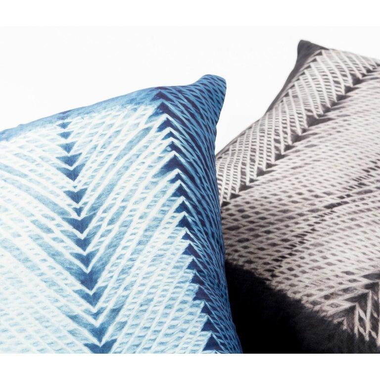 Indian ARA Black Shibori  Silk Pillow For Sale