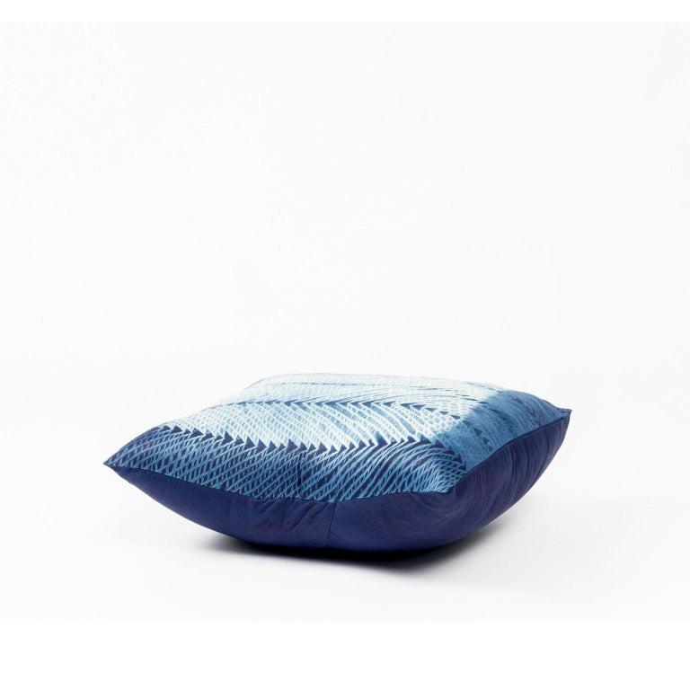 Indian ARA Indigo Shibori Silk Pillow For Sale
