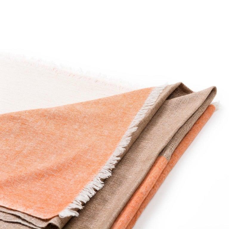 Yarn Handloom CHESTNUT Color Block Throw / Blanket In Merino  For Sale