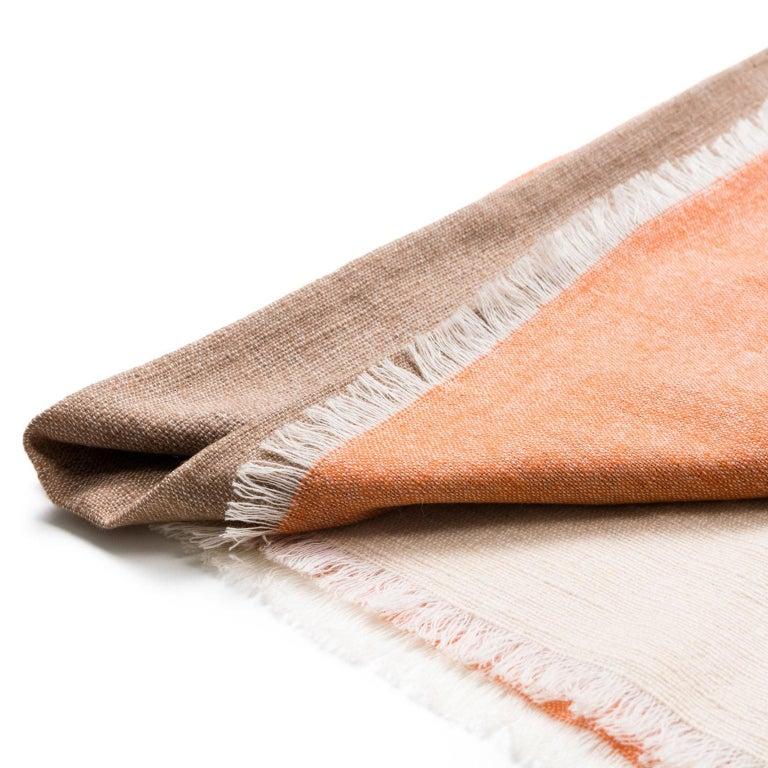 Handloom CHESTNUT Color Block Throw / Blanket In Merino  For Sale 1