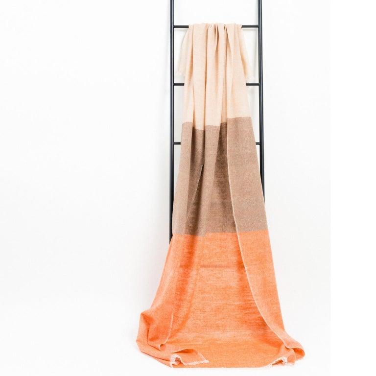 Handloom CHESTNUT Color Block Throw / Blanket In Merino  For Sale 2