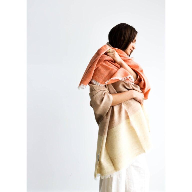 Handloom CHESTNUT Color Block Throw / Blanket In Merino  For Sale 3