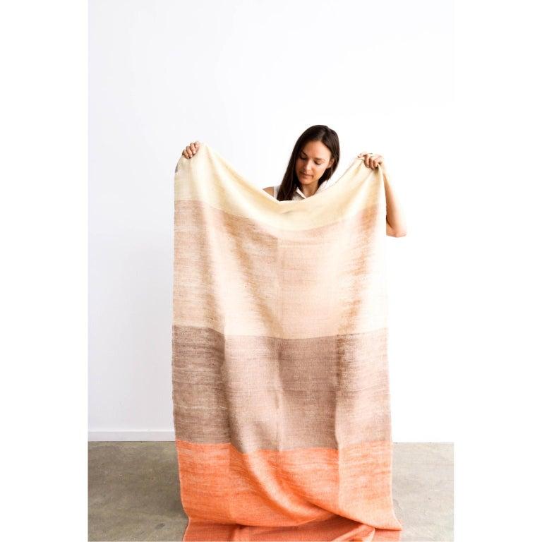 Contemporary Handloom CHESTNUT Color Block Throw / Blanket In Merino  For Sale