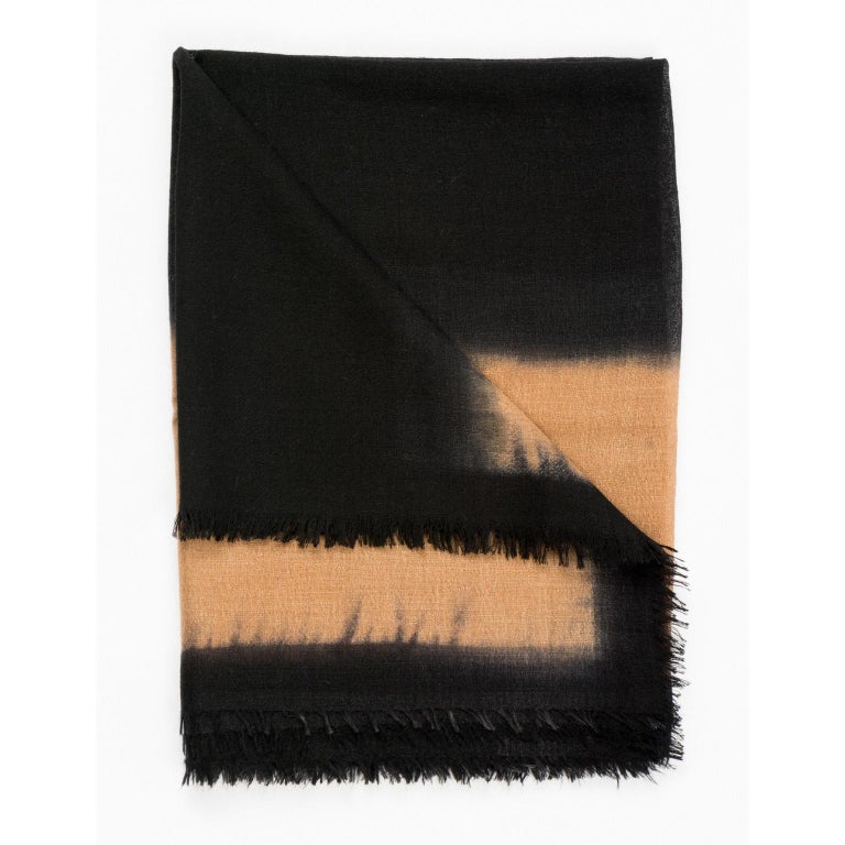 Custom design by Studio Variously, Aria black scarf / shawl is handwoven by master weavers in Nepal and dyed entirely with earth-friendly dyes.   A sustainable design  brand based out of Michigan, Studio Variously exclusively collaborates with