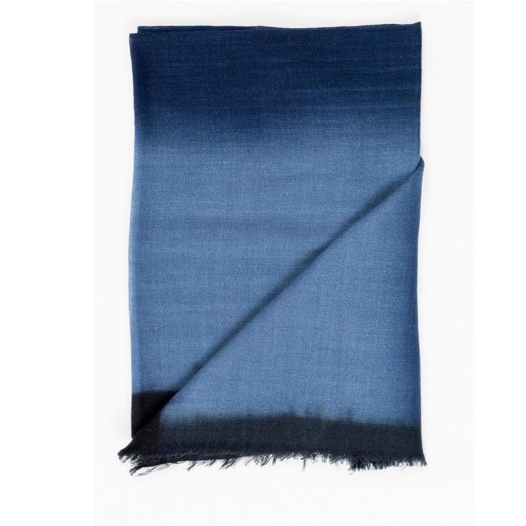 Nepalese Handloom ARIA INDIGO Ombre Scarf / Shawl In Cashmere & Merino For Sale
