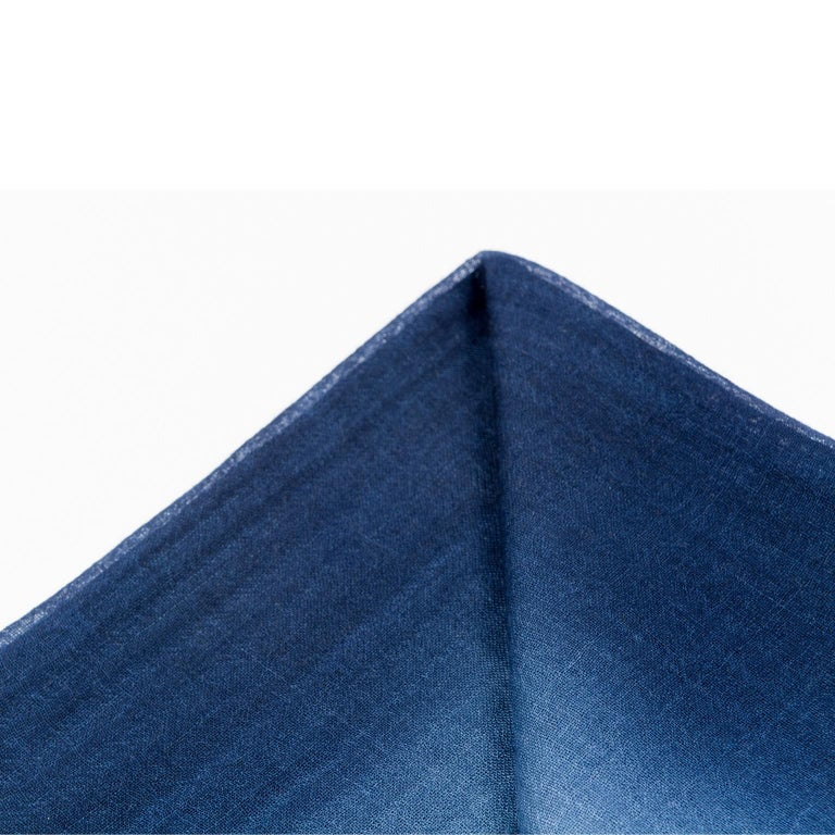 Hand-Woven Handloom ARIA INDIGO Ombre Scarf / Shawl In Cashmere & Merino For Sale