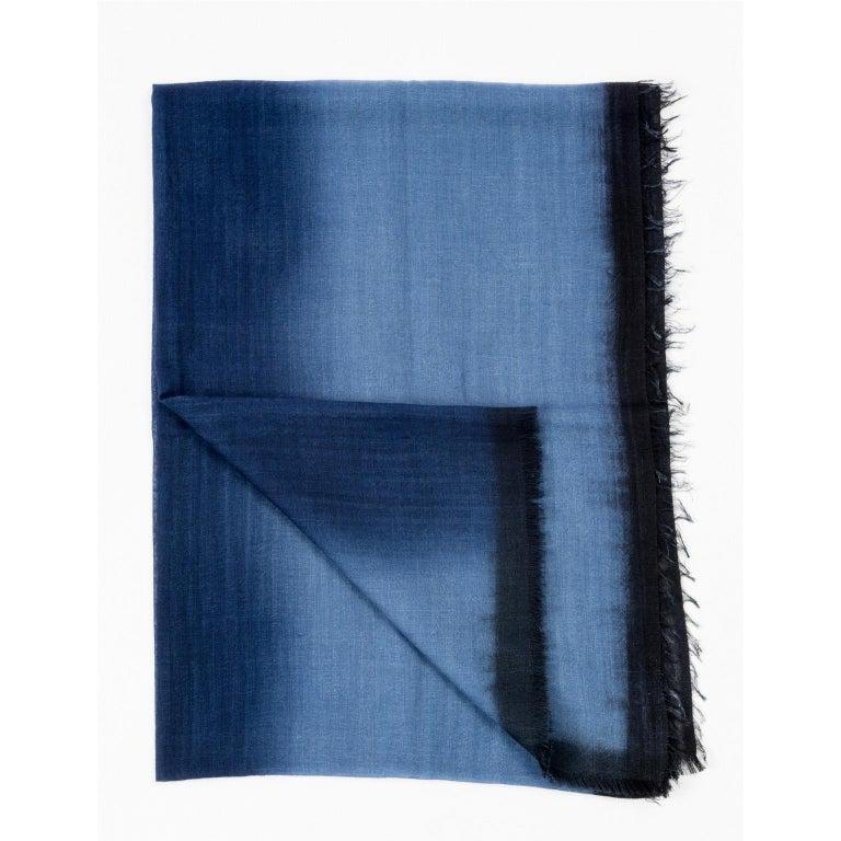 Handloom ARIA INDIGO Ombre Scarf / Shawl In Cashmere & Merino In New Condition For Sale In Bloomfield Hills, MI