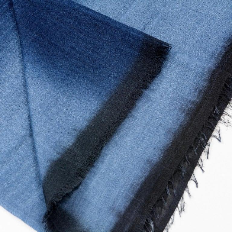 Contemporary Handloom ARIA INDIGO Ombre Scarf / Shawl In Cashmere & Merino For Sale