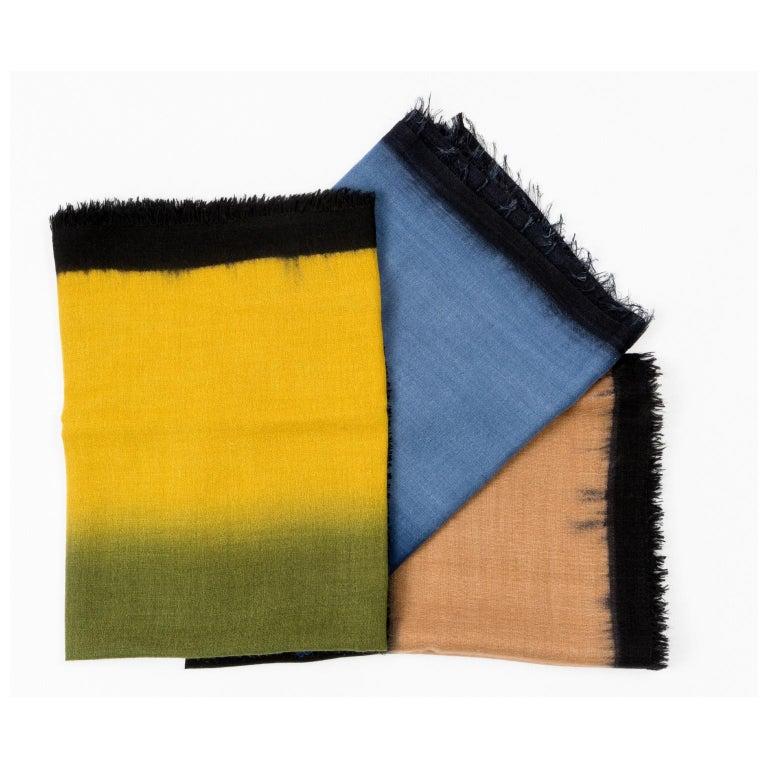 Yarn Handloom ARIA INDIGO Ombre Scarf / Shawl In Cashmere & Merino For Sale