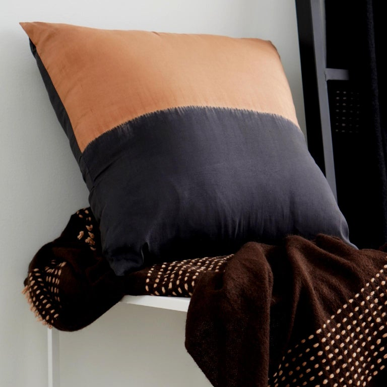Dyed KALA Silk Color Block Pillow in Black Gold  For Sale