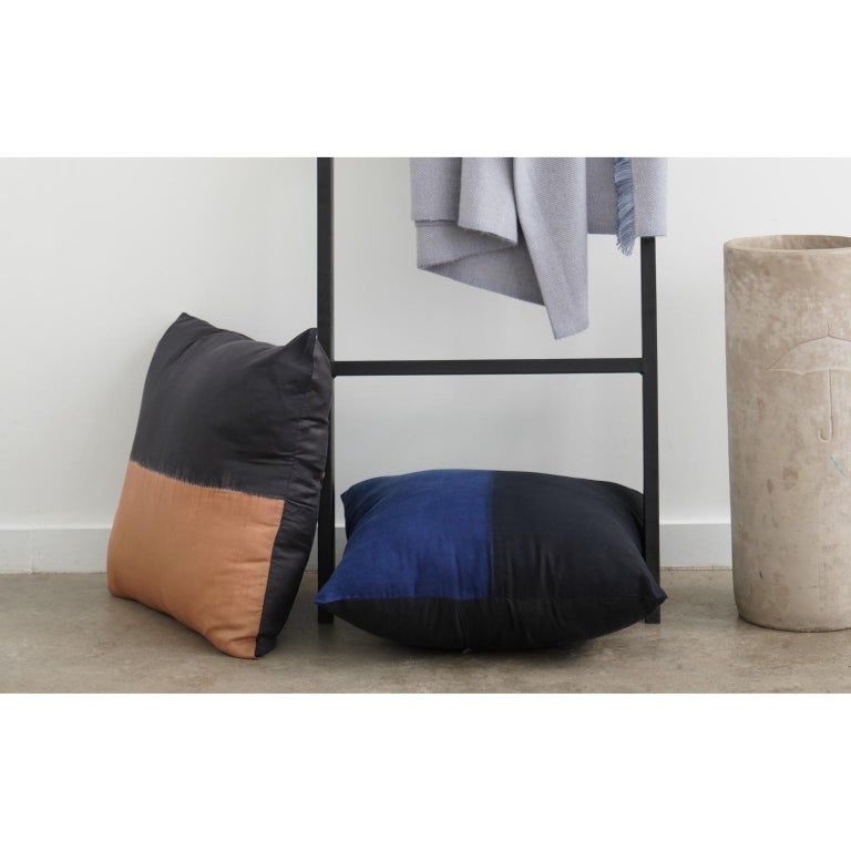 Contemporary KALA Silk Color Block Pillow in Black Gold  For Sale