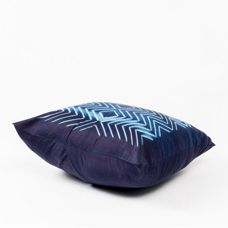 Modern NAAMI Color Block Shibori Silk Pillow in Indigo For Sale