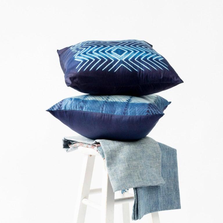 Indian NAAMI Color Block Shibori Silk Pillow in Indigo For Sale