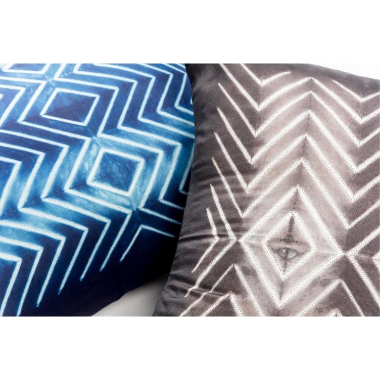 Dyed NAAMI Color Block Shibori Silk Pillow in Indigo For Sale