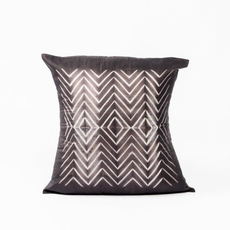 Indian NAAMI Black Shibori Silk Pillow For Sale