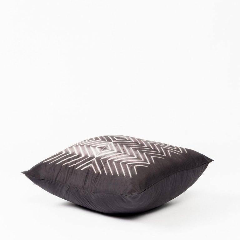 Dyed NAAMI Black Shibori Silk Pillow For Sale