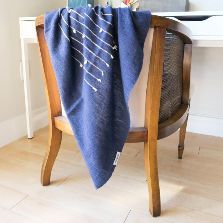 ROSEWOOD INDIGO Merino Throw / Blanket In Stripes Design For Sale 1