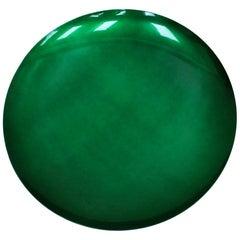 Modern Artisanal Sculptural Concave Green Glass Handmade French Mirror