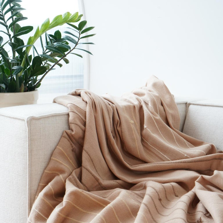 Contemporary Handloom TERRA Throw /  Blanket In Soft Merino For Sale