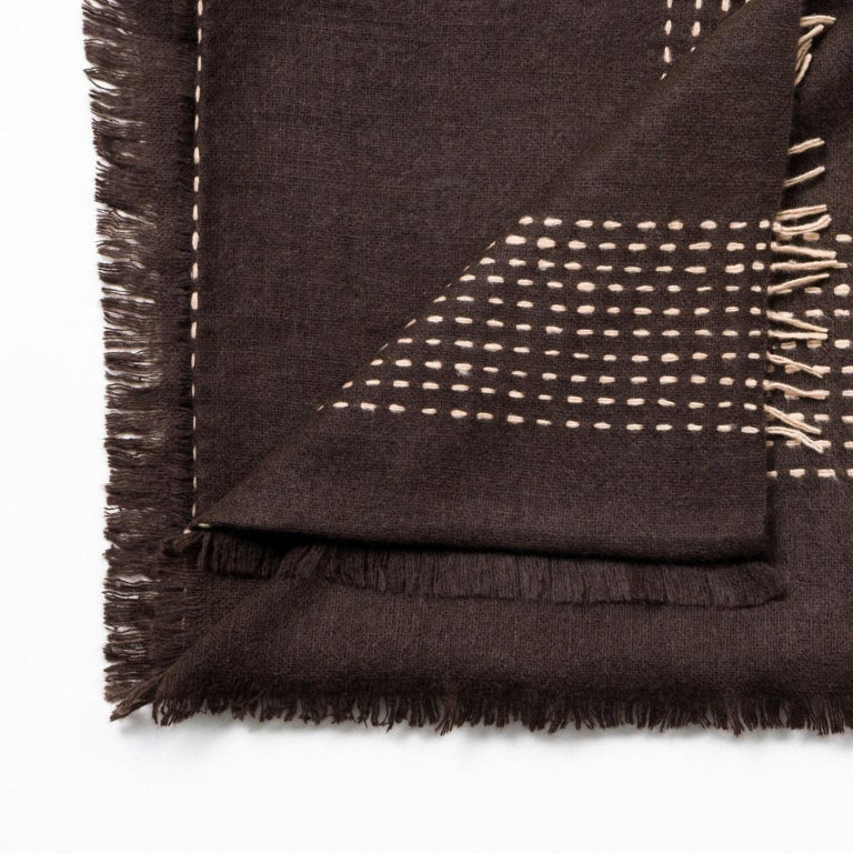 Custom design by Studio Variously, Walnut Brown Yak throw / blanket is handwoven by master weavers in Nepal and dyed entirely with earth-friendly dyes.   A sustainable design brand based out of Michigan, Studio Variously exclusively collaborates