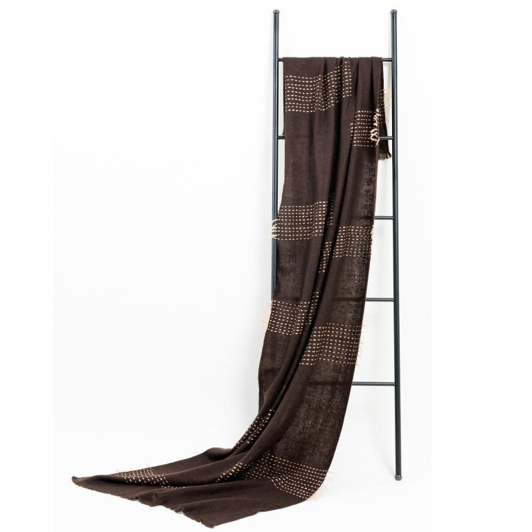 Modern WALNUT Brown Yak Throw / Blanket Handwoven and Hand Embroidered For Sale
