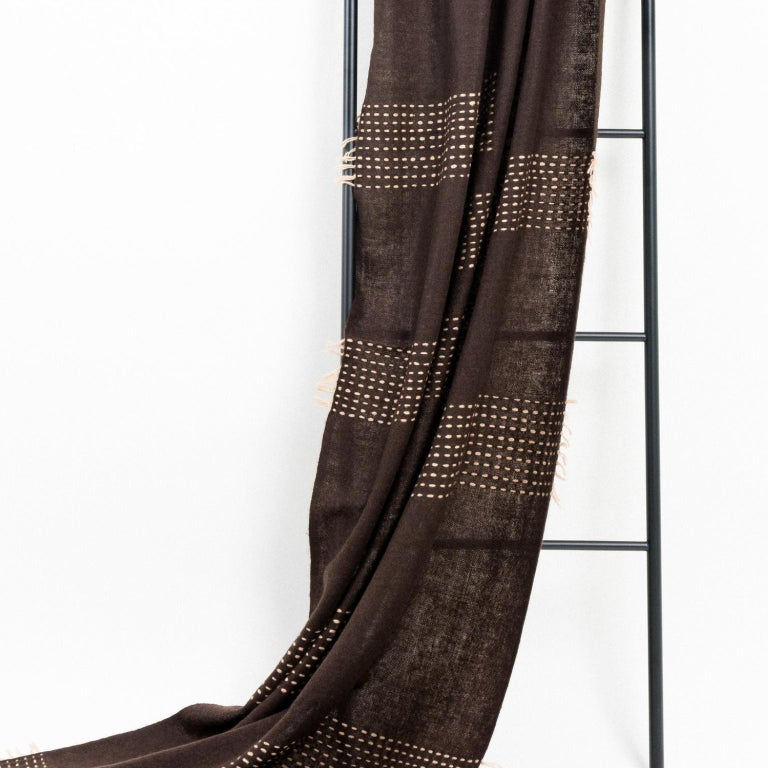 Contemporary WALNUT Brown Yak Throw / Blanket Handwoven and Hand Embroidered For Sale