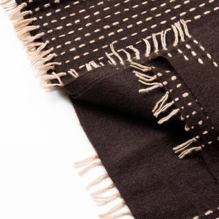 Nepalese WALNUT Brown Yak Throw / Blanket Handwoven and Hand Embroidered For Sale