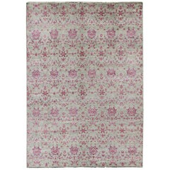 Modern Arts & Crafts Rug in Rose and Light Green Background