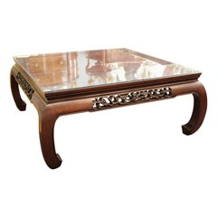 Modern Asian Style Square Coffee Table in Wood with Glass Top