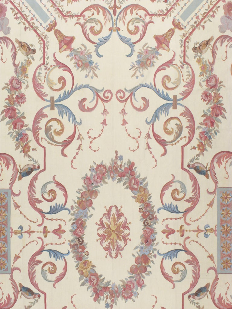Chinese Contemporary Louis XV Style Aubusson in Ivory, Rose, Blue and Grey For Sale