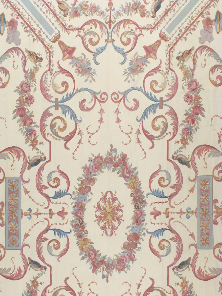 Hand-Woven Contemporary Louis XV Style Aubusson in Ivory, Rose, Blue and Grey For Sale