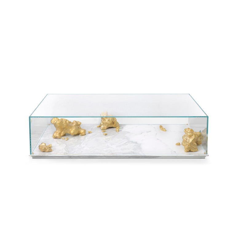 European Modern Aurum Center Table with Golden Nuggets, Glass and White Marble Base For Sale