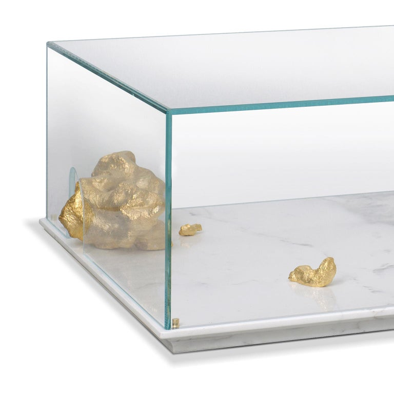 Cast Modern Aurum Center Table with Golden Nuggets, Glass and White Marble Base For Sale