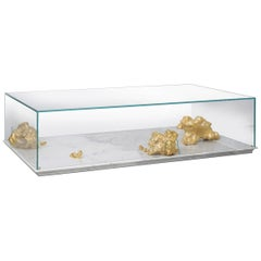 Modern Aurum Center Table with Golden Nuggets, Glass and White Marble Base