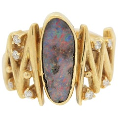 Modern Australian Boulder Opal Diamond Gold Ring