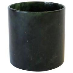 Modern Austrian Dark Green Marble Vessel